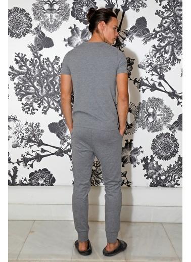 Hays Penye Erkek Kısa Kollu Pijama Takımı Gri